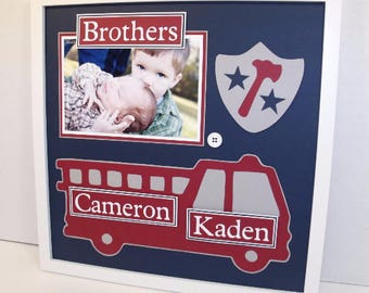 Brothers / Cousins Photo Mat - Fire Truck Fireman Theme - Personalized - 8x10 or 12x12 Unframed Mat - Any Colors