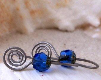 Hypoallergenic Earrings - Titanium Earrings - Gift for Wife - Pure Titanium - Dangle Earrings - Sapphire Blue Earrings - Drop Earrings