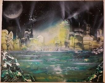 "Spray paint art ""City Lights"" 18x22"