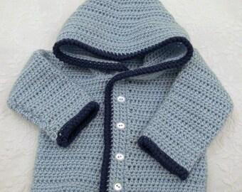 Boy's Light Blue Crocheted Hooded Sweater