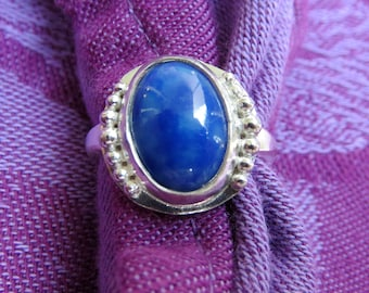Bright Blue Azurite in Granulated Sterling Ring Size 7