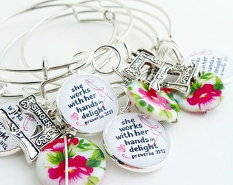 sewing seamstress sewing machine crafter  bangle bracelet jewlery for her gift