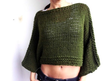 Dark green sweater / handknit sweater/ knit poncho/crop sweater/ soft cozy sweater