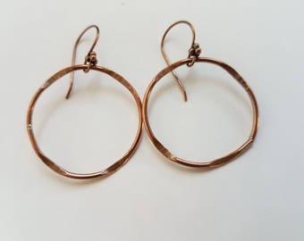 Copper Hoop Earrings, Textured Copper, Hoops, Round earrings, Hammered Copper Hoops