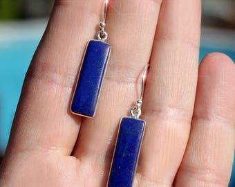 Starry Sky - Beautiful Royal Blue Lapis Lazuli Sterling Silver Earrings