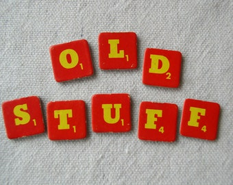 Cardboard Scrabble Letters OLD STUFF Red and Yellow, Altered Art Supply, Scrapbook Supply