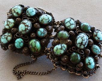 Antique Austro-Hungarian Blue Green Turquoise .800 Silver Bracelet