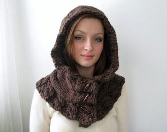 Brown Hoodie. Chunky Handknit. Hooded Scarf. Cozy. Cabled. Unisex. Forest Brown and Custom Colors.