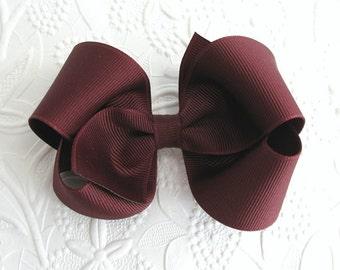 Girls Maroon Hair Bow, School Uniform Bow, Thanksgiving Hair Bow Clip