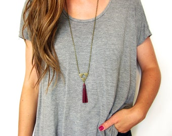 Triangle Tassel Necklace | Leather Tassel Necklace | Long Tassel Necklace | Long Tassle Necklace | Triangle Pendant | Jewelry | Fringe