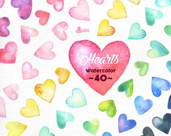 Watercolor Hearts Clipart: 40 Digital files in 8 colors, different hand painted multicolored watercolour separate hearts, elements in png