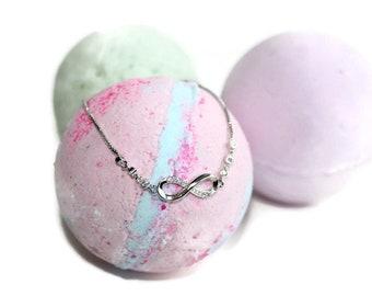 bath bomb jewelry, BRACELET bath bomb, bathbomb for mom, anniversary gift, wife gift, bath bomb bling, sisters gift, bff gift, infinity