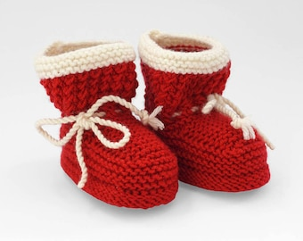 Red ankle boots, Christmas Gift, Red booties for baby girl, knitted booties, red shoes, Christmas Baby socks, Red Baby booties, Baby shower