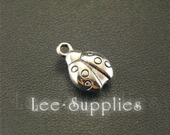 30pcs Antique Silver LadyBug Insect Charms Pendant A1583