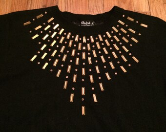 Womens Gold Stud Embellished Black Vintage Pullover Bat Sleeve Sweater Knitwear