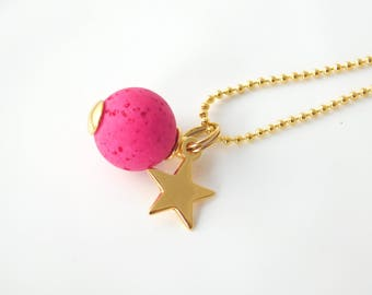 GALA necklace long gold/pink with golden star