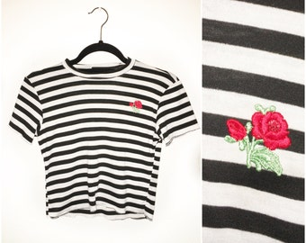 Rebel RED ROSE Black White Stripe Jersey Crop Top Red Rose Patch Made to Order Valentines 90s inspired