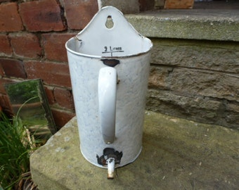 Vintage French enamel enamelware shower irrigator container