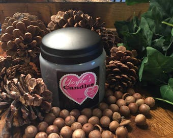 Leather Handmade Hand Poured 16 oz Soy Candle in Apothecary Jar With Rustic Lid