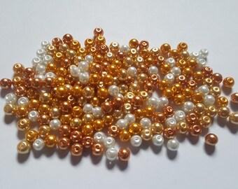 Caramel pearl mix, Glass pearl mix, Glass pearl beads, Bead mix, Bead soup, Glass pearls, Glass beads, Pearl beads, Jewellery making