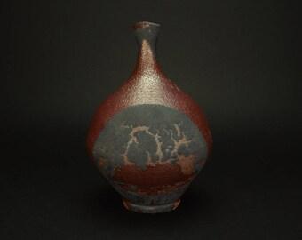 Vintage Modern Raku Style Vase Designed By Arizona Studio Potter Ron Burke Circa 1998