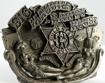 Vintage Pewter Belt Buckle Big Maudie's Bawdy House Risque Buckle Kitsch