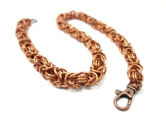 Biker Wallet Chain Handmade Chainmaille - Byzantine Weave From Reclaimed Copper Wire