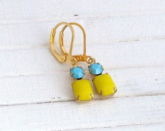 Yellow and Turquoise Earrings .. colourful earrings, small earrings, bright yellow earrings, vibrant earrings