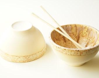 Miso Bowl, Set of Two, Pho Noodle Bowl, Ceramic Bowl, Hot Pot Bowl, Ramen Bowl, Rice Bowl, Pottery Bowl, Handmade Bowl, Asian Food Bowl