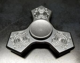 US Coast Guard Engraved Stainless Steel Fidget Spinner with Stainless Steel Cap