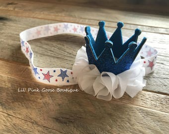 PATRIOTIC CROWN HEADBAND, Crown Headband, July 4th Crown, Newborn Crown Headband, Crown headband, 1st Birthday Girl, American 1st Birthday,