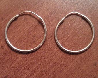 Vintage Super Thin Sterling Silver Hoop Earrings