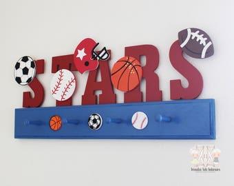 Sports theme decor, Boys nursery decor, Sports nursery letters, Hat rack, Hat organizer, Sports decor, Sports letters, Sports coat rack,Boys