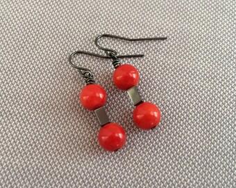 Red coral dangle earrings, minimalist drop earrings. Delicate red drop earrings. Minimal earrings, red drop bead. Coral bead simple earing