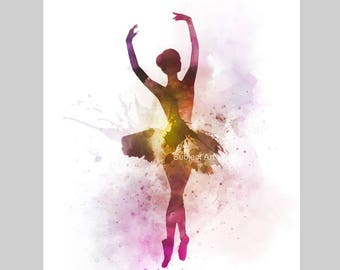Ballerina 2 ART PRINT illustration, Ballet Dancer, Dance, Wall Art, Home Decor, Gift