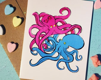 Tangled Octopus Valentine, Love, Cute Card