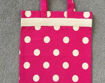 Hot pink dotty kids tote bag
