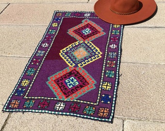 Bohemian Vintage Rug PurpleTurkish Small Hand Woven 50 Year Old