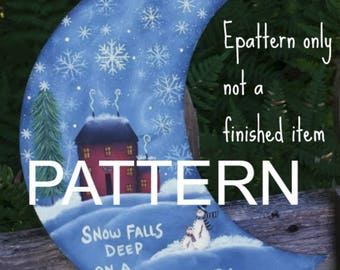 Painting patterns, Wintery Night Moon, Christmas pattern, best selling items, tole painting patterns, painting pattern, snowman pattern,