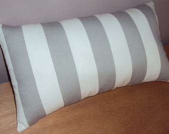 Gray and White Stripe Lumbar Pillow Cover - Available In 3 Sizes
