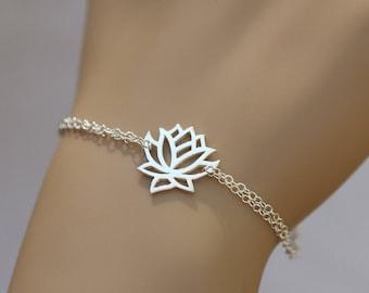 Sterling silver Lotus bracelet,Lotus jewelry,Yoga bracelet,Zen bracelet,Lucky charm jewelry,Everyday jewelry,Bridesmaid gift,Wedding Jewelry
