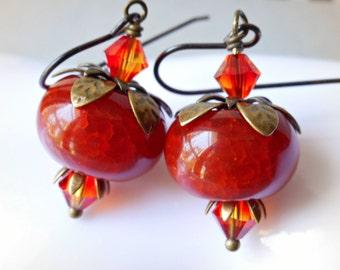 Pomegranate Earrings, Beauty of fire, Deep orange red fire agate gemstones, fire opal Swarovski crystals and brass petals dangle earrings