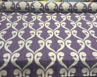 Mardi Gras Fleur De Lis Amethyst purple Jacquard Reversible Drapery Fabric By the yard Multipurpose