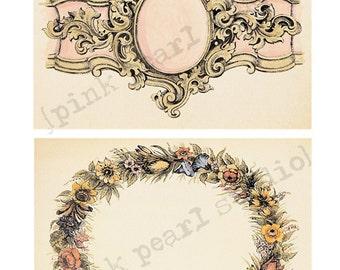 "Set of Ornate Frames for Background Digital Prints in 2 - 5x7"" Format Altered Art, ATC, Scrapbooking"