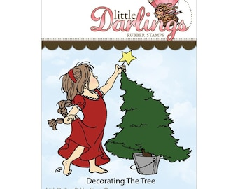 Decorating the Tree - unmounted rubber stamp by Little Darlings Rubber Stamps