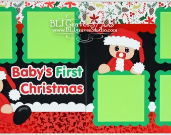 2 Premade Christmas Scrapbook Pages 12x12 Layout Paper Piecing Baby's First Christmas Handmade 051