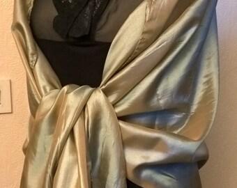 Beige, black and copper wedding shawl