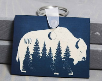 Nature Key Chain, Forest Key Chain, Wyoming Key Chain, Wyo Keychain, Bison Key Chain, Nature Keychain,