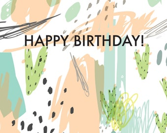 Happy Birthday Abstract Watercolor Card | Birthday Cards