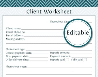 Client Worksheet - Photography Business Organizing - Fillable - Printable PDF